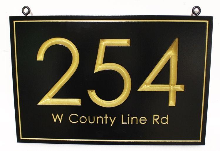 "KA20922A - Engraved Prismatic HDU Unit Number  Sign ""254 ."" with 24K Gold Leaf Gilded Text and Border"