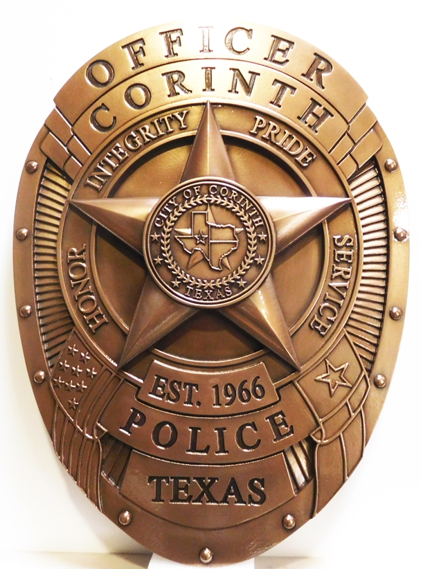 PP-1310 - Carved Plaque of the Badge of the Police of Fairfax County, Virginia, 3-D Bronze Plated