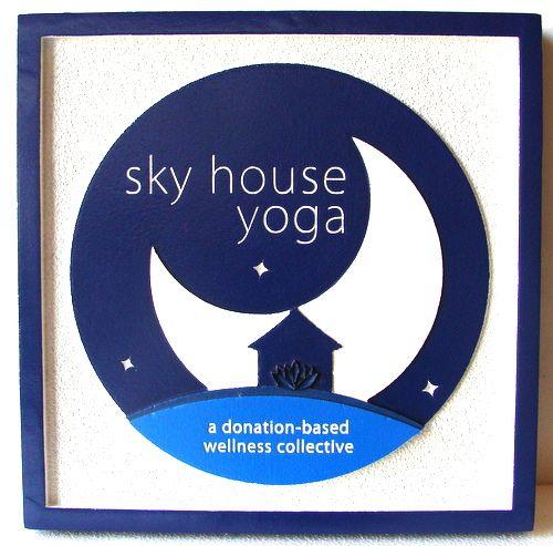 """SA28488 - Carved Sign for """"Sky House Yoga Wellness Collective"""""""