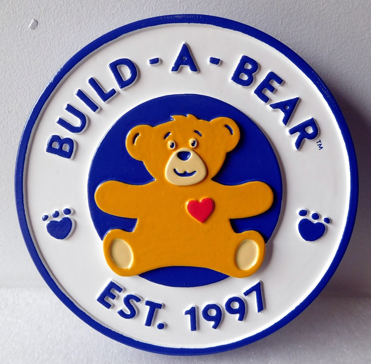 "SA28021A - Carved HDU Sign for a Toy Store ""Build-a-Bear"" with a Teddy Bear"