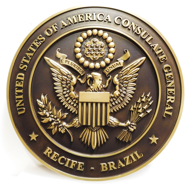 AP-3770- Carved Plaque of the Seal of the United States Consulate General, Recife, Brazil, Brass-Plated with Dark Patina