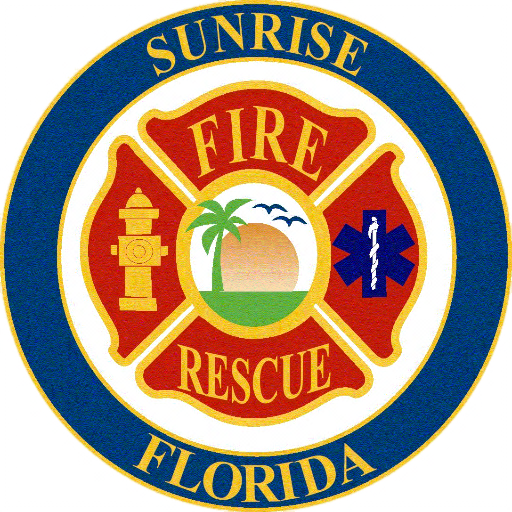 QP-3060 - Carved Wall Plaque of  the Seal  of the Sunrise Fire & Rescue Department, Florida, Artist Painted