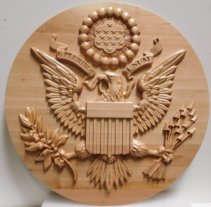 AP- 1110  Carved Plaque of the Great Seal of the United States, Carved Maple Wood 3-D