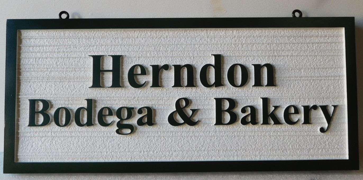 "Q25645 - Carved and Sandblasted sign for ""Herndon Bodega & Bakery"" , with Raised Text and Border"