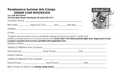 CLICK HERE to download the Weekly Arts Camps registration form >>
