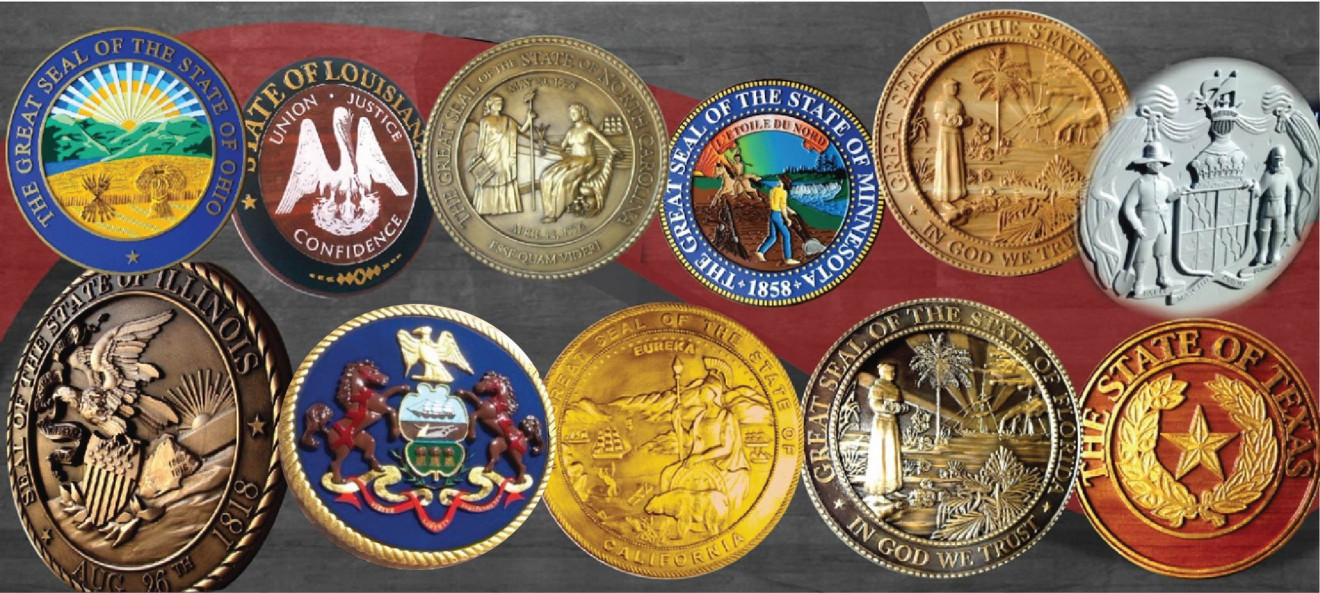 1 This Picture Shows The Wide Variety Of Styles Our Dimensional Great Seal Wall Plaques For Several States Some Are Carved In 3 D Bas Relief