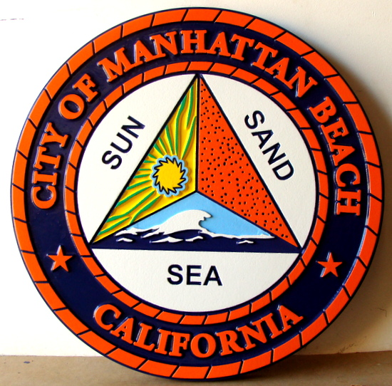 X33091 - Carved HDU Wall Plaque of the Seal of Manhattan Beach, Southern  California