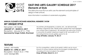 CLICK HERE for a Printable Version of East End Arts 2017 Gallery Schedule >>