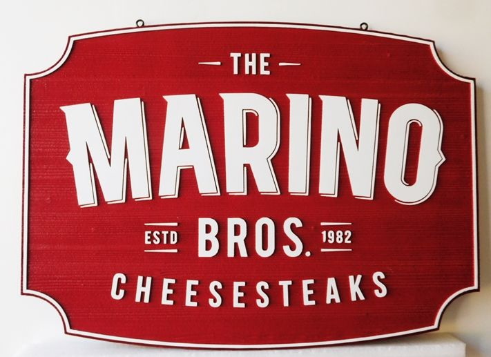 "Q25039 - Carved 2.5D HDU Sign  for ""The Marino Brothers Cheesesteaks"" Company with Raised Text"