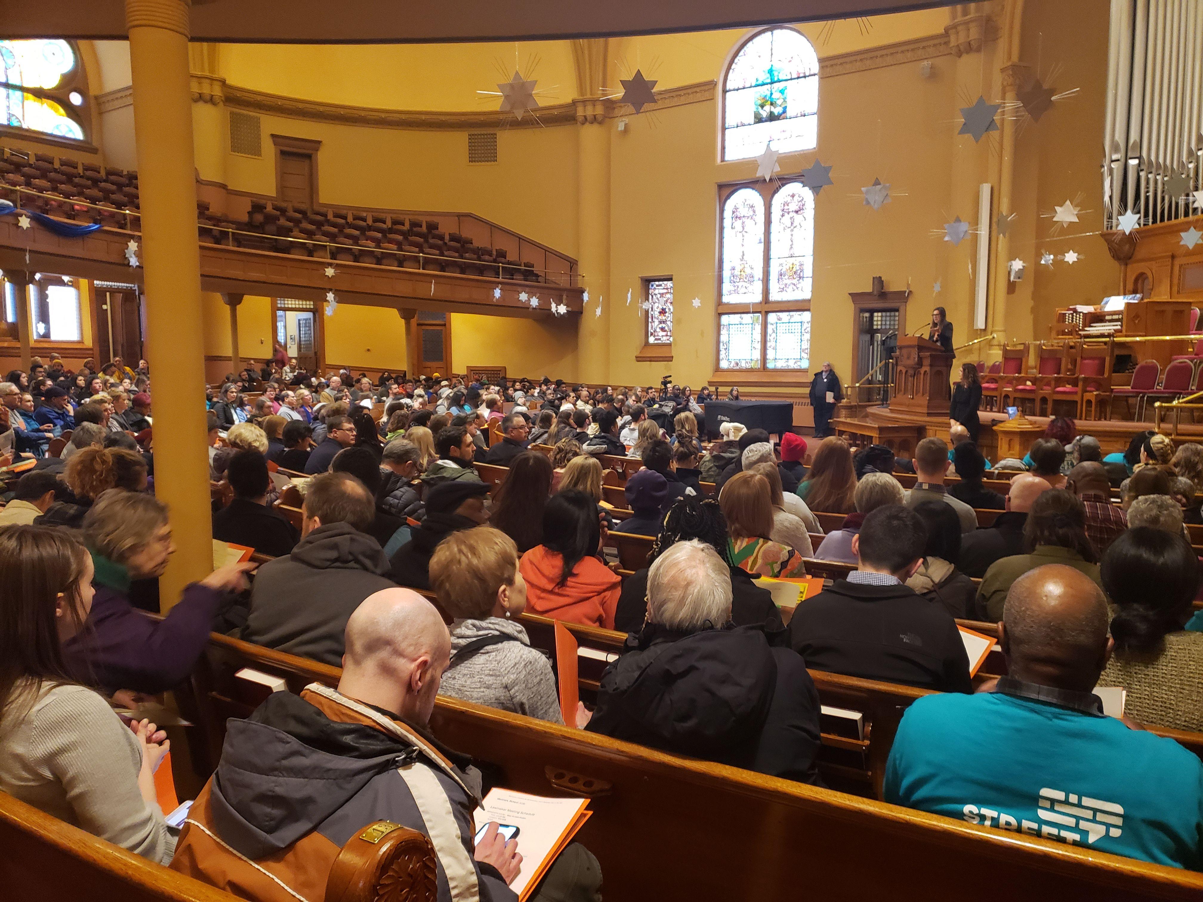 The crowd at Central Presbyterian Church