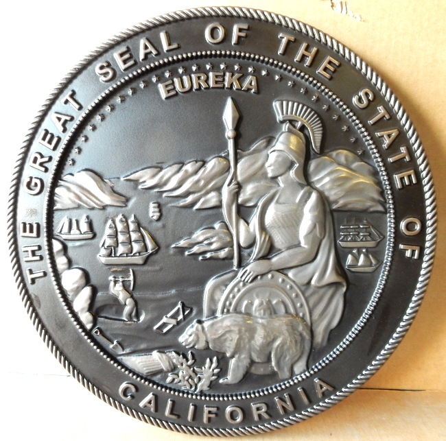 M7254 -Carved Nickel-Silver Coated Wall Plaque of the Great Seal of California