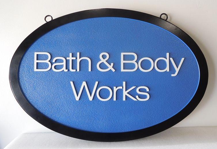 "SA28434 - Carved 2.5-D  High Density Urethane (HDU) sign for the  ""Bath & Body Works"" Shop"