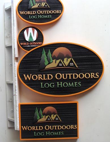 "SA28537 - Signs for ""World Outdoors Log Homes"" Company, Evergreen Trees and  Log Homes as Artwork"