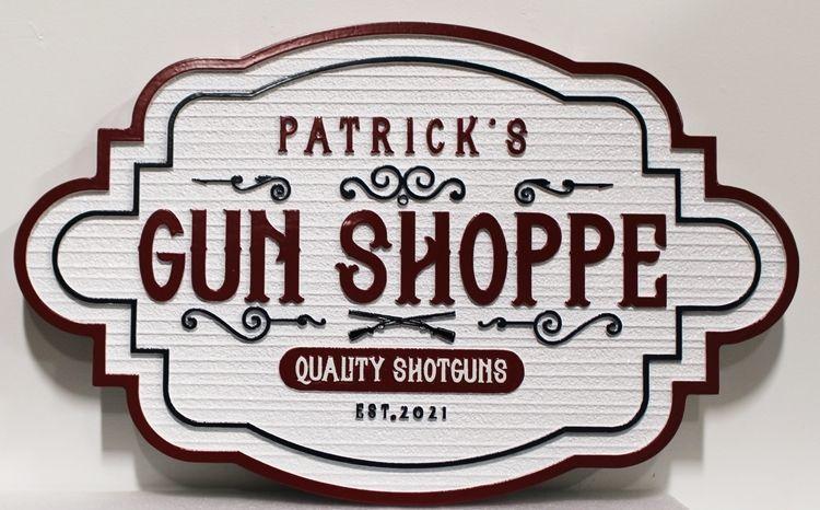 S28147 - Carved  2.5-Dand Sandblasted Wood Grain HDU Sign  for Patrick's Gun Shop