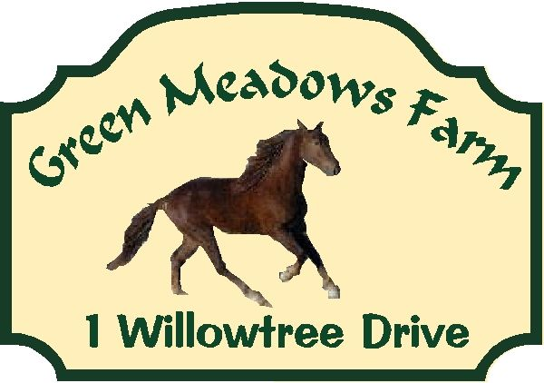P25308 - Design of Private Horse Farm Sign with Trotting Horse