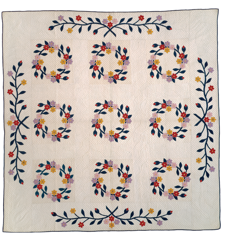 Wreath of Roses, maker unknown, 1935-1945, possibly made in Coshocton County, Ohio, hand appliquéd, machine pieced, hand quilted, 77 x 75 inches, IQSCM 1997.007.0112, Ardis and Robert James Collection