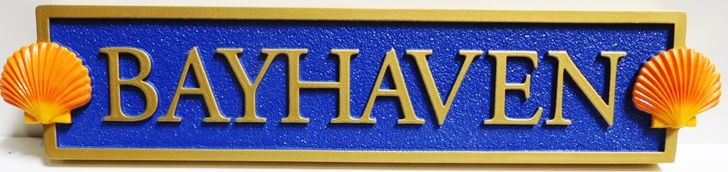 """L21879 - Carved and Sandblasted Quarterboard for """"Bayhaven"""" Home, with 3D Seashells"""