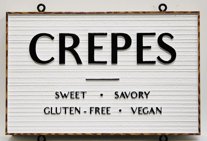 "Q25670 -  Carved and Sandblasted Wood Grain HDU  Hanging Sign for ""The North Shore Crepes Cafe""  with ""Crepes"" as Text"