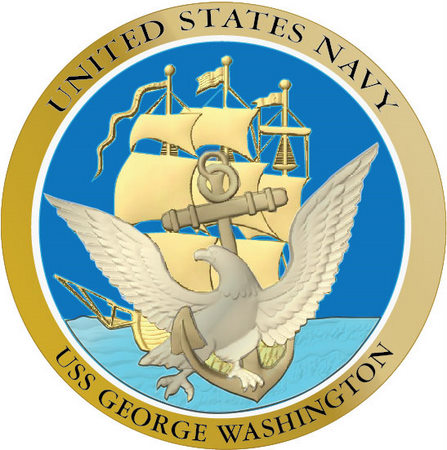 V31211 - Carved Gold and Blue Navy Ship Seal Wall Plaque