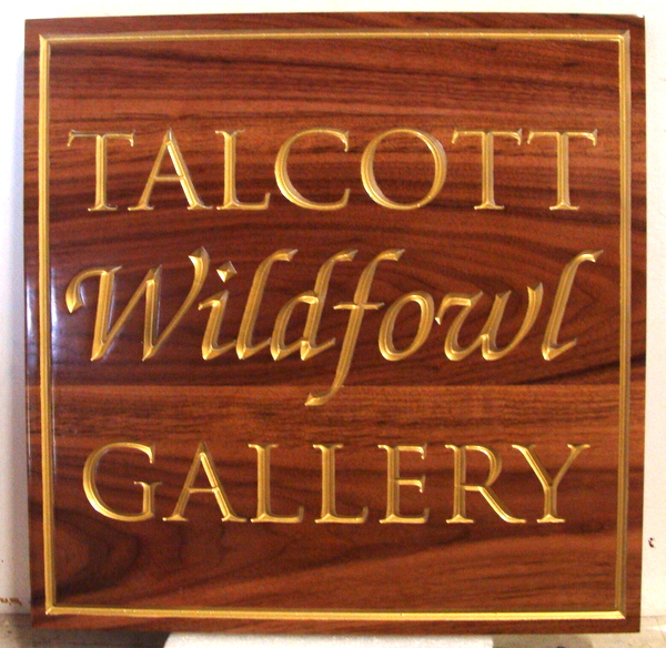 SA28001 - Engraved African Mahogany Sign for a Wildfowl Art Gallery, with 24K Gold-leaf Gilded Text