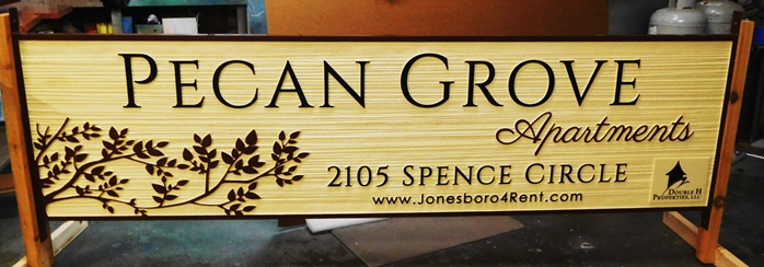 "K20326 - Carved HDU Sign,  forthe ""Pecan Grove "" Apartments , with Wood Grain Sandblasted Background"