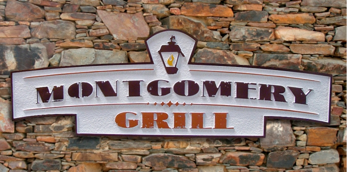 Q25715 - Large Sign (Choice of Wood or HDU) for Restaurant Grill, Carved Carriage Lantern