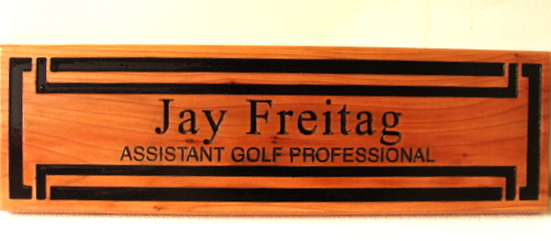 SB28990 - Carved Cedar wood plaque for an Assistant Golf Professional