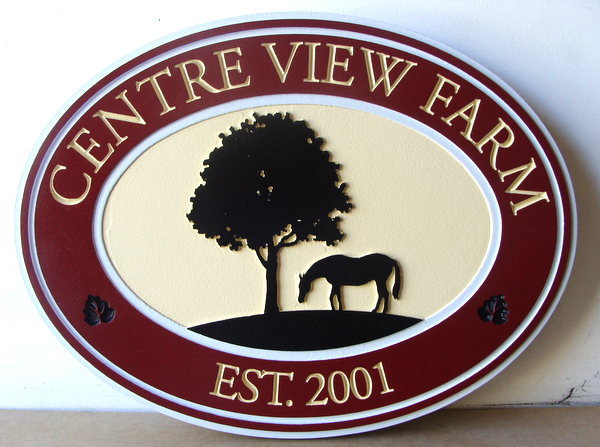 "P25092 - Engraved HDU Horse Farm Sign, ""Center View Farm"", with Silhouette of Tree and Horse Grazing"
