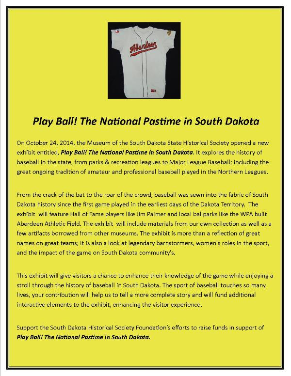 Play Ball! The National Pastime in South Dakota