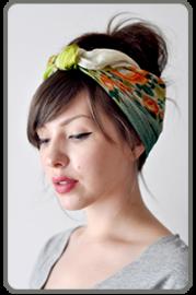 Green silk scarve hair style