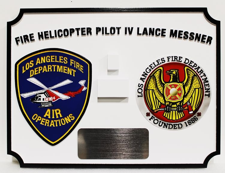 QP-1195 - Carved Los Angeles Fire Department Helicopter Pilot Plaque, with LA Fire Department Seal and Air Operations Shoulder Patch, 3-D
