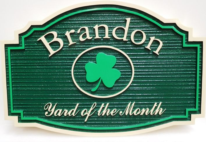 "KA20964- Carved and Sandblasted  Wood Grain High-Density-Urethane (HDU) Yard-of-the-Month Sign for the ""Brandon"" Home Owners Association (HOA), 2.5-D with Shamrock as Artwork"