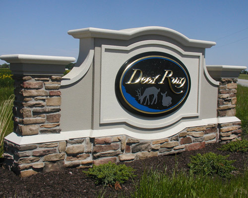 M6720 - Custom Monument Sign with Stone Pillars and Gold Leaf
