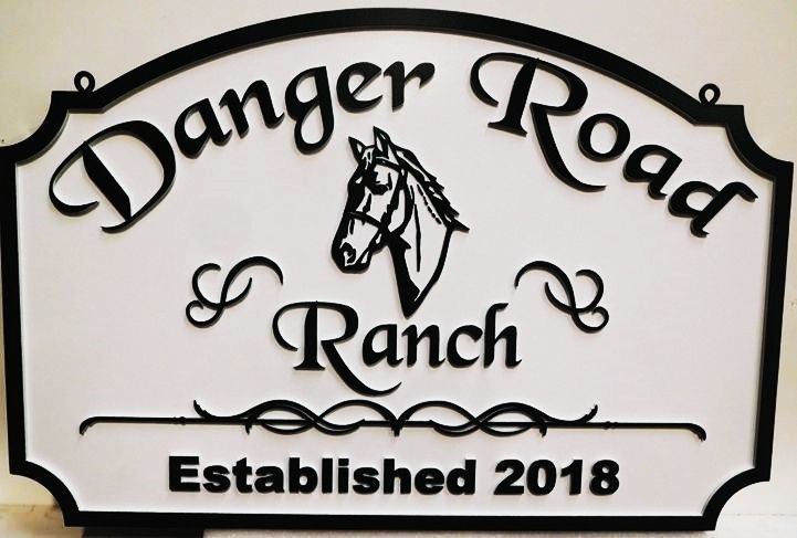"""P25165 - Carved HDU Horse Ranch Name Sign """"Danger Road Ranch"""", with 2.5-D Outline Relief of Horse's Head as Artwork"""