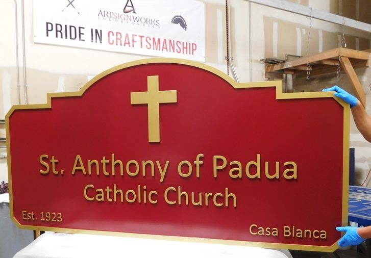 "D13027 - Carved Sign for the ""St. Anthony of Padua""  Catholic Church, 2.5-D Raised Text"
