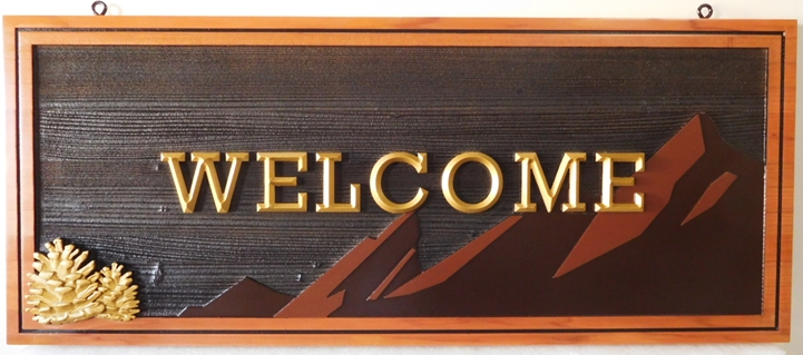 M22108 - Cedar Wood Welcome Sign  for a Cabin, with  Carved Prismatic 3D Text, a Mountain Range, and a 3D Carved