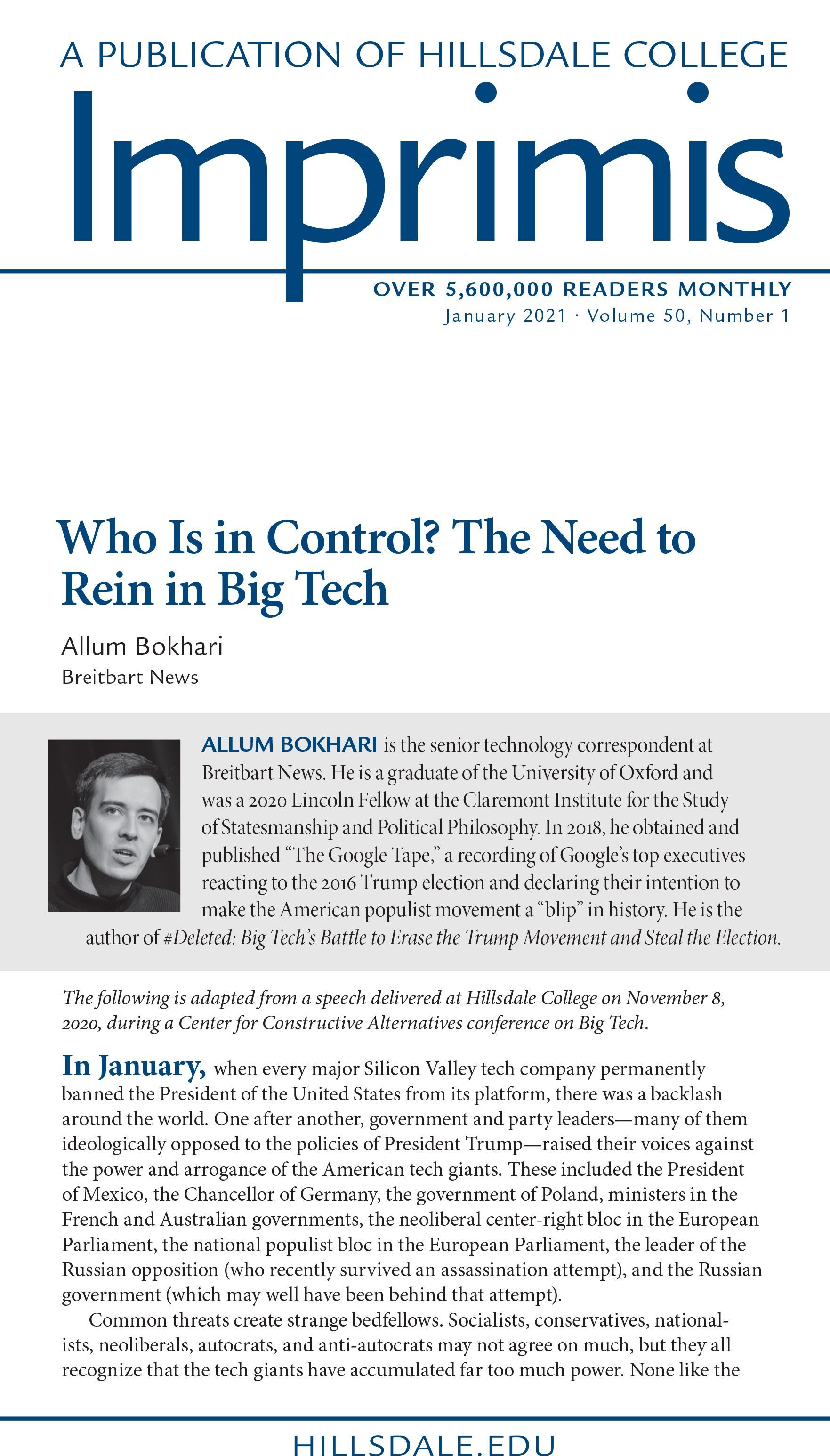 IMPRIMIS: Who Is in Control? The Need to Rein in Big Tech