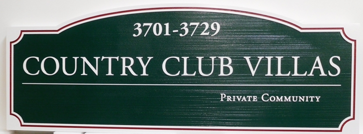 KA20849 - Carved Unit Number Directional Sign for an Country Club Villas, with Sandblasted Wood Grain Background