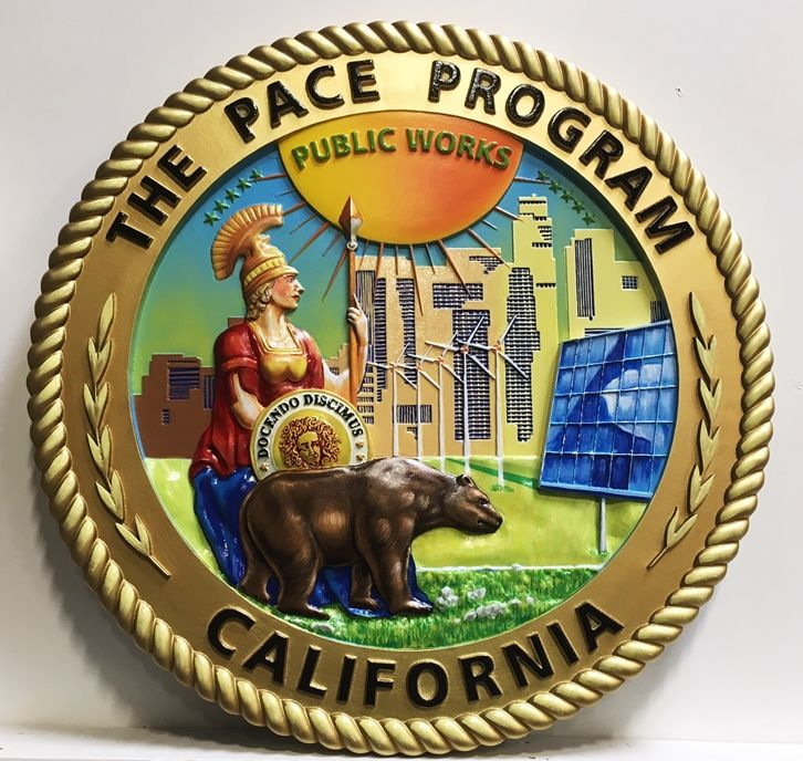 VP-1432 - Carved Plaque of the PACE Program  for California, 3-D Artist-Painted