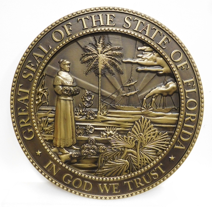 BP-1142 - Carved Plaque of the Great Seal of the State of Florida, 3-D, Brass-Plated