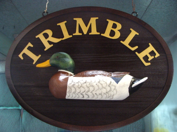 M22007A - Carved Cabin Sign with 3D Mallard Duck