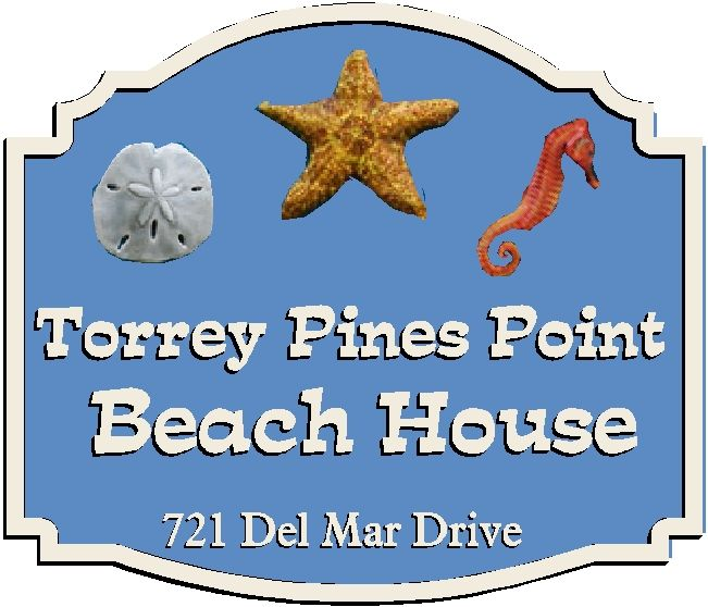 L21502- Carved 3-D Beach House Address Sign, with Starfish, Seahorse, and  Sand Dollar