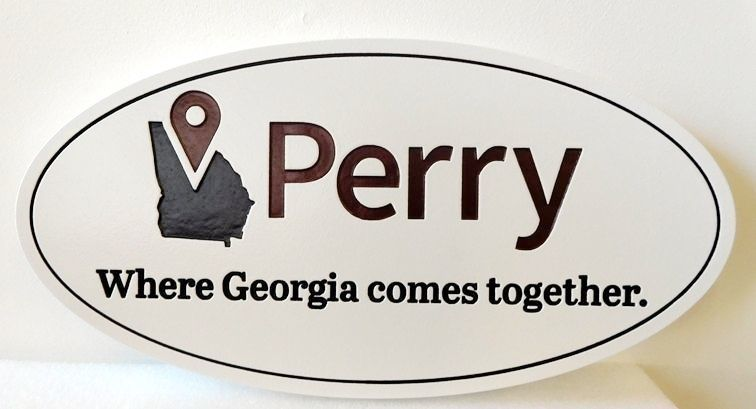 DP-1820 - Carved Plaque of the Seal of the City of Perry, Georgia,  Artist Painted