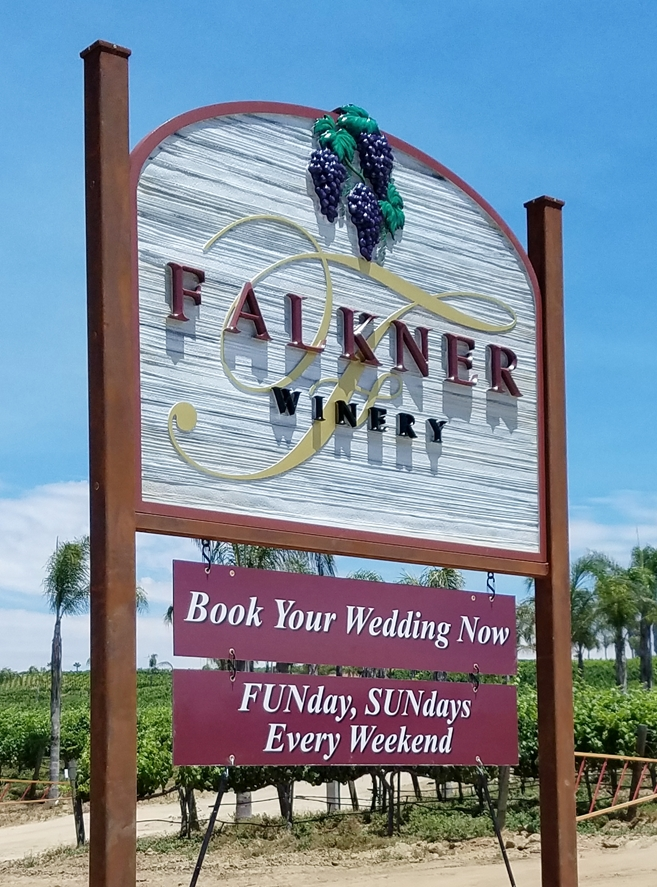 R27019 - Large Carved and Sandblasted 3-D  High-Density-Urethane (HDU) Falkner Winery Sign, with Rider Sign Below