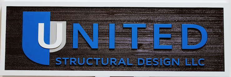 "S28159 -  Carved Cedar Wood Sign for the ""United Structural Design"" Company."