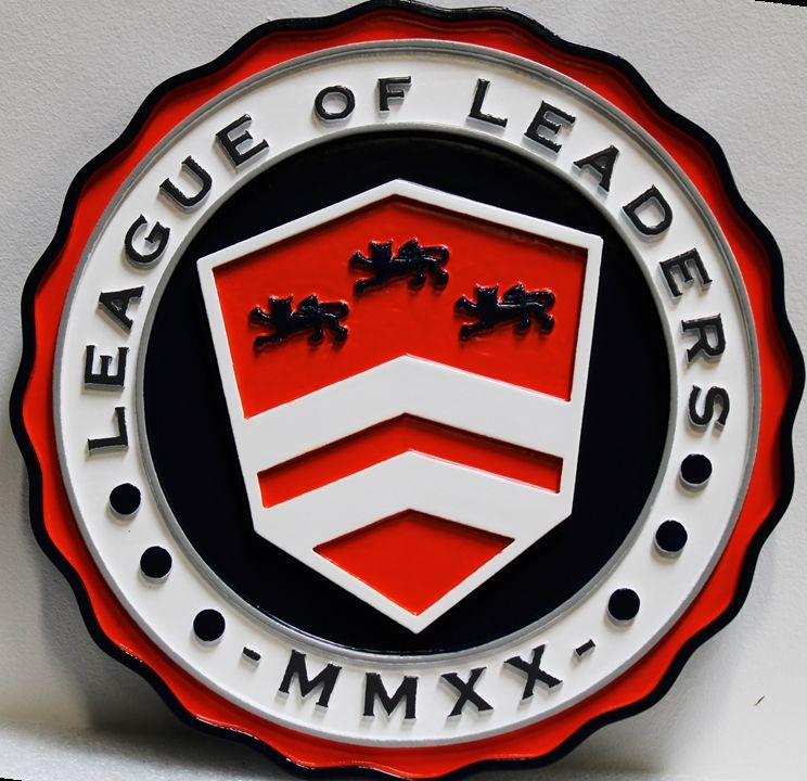 UP-2150 - Carved 2.5-D Plaque of the Seal of the League of Leadership