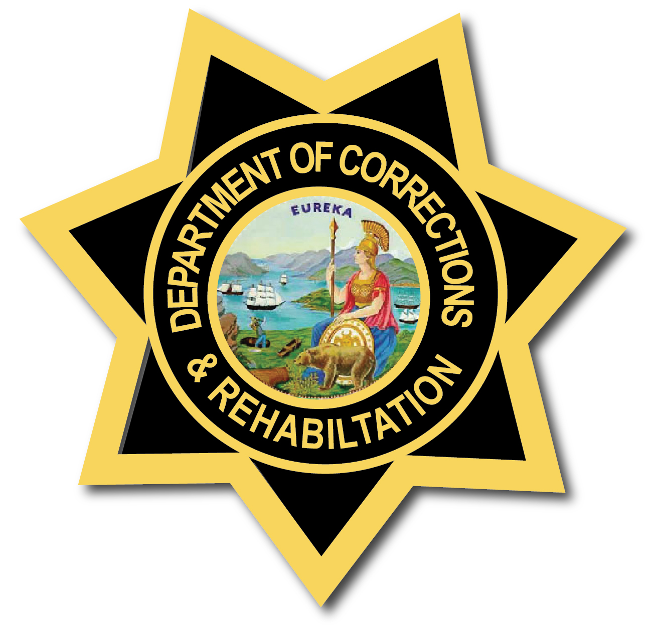 PP-2450 - Carved  Wall Plaque of the Star Badge of theCalifornia Department of Corrections and Rehabilitation (State Prisons), Artist Painted