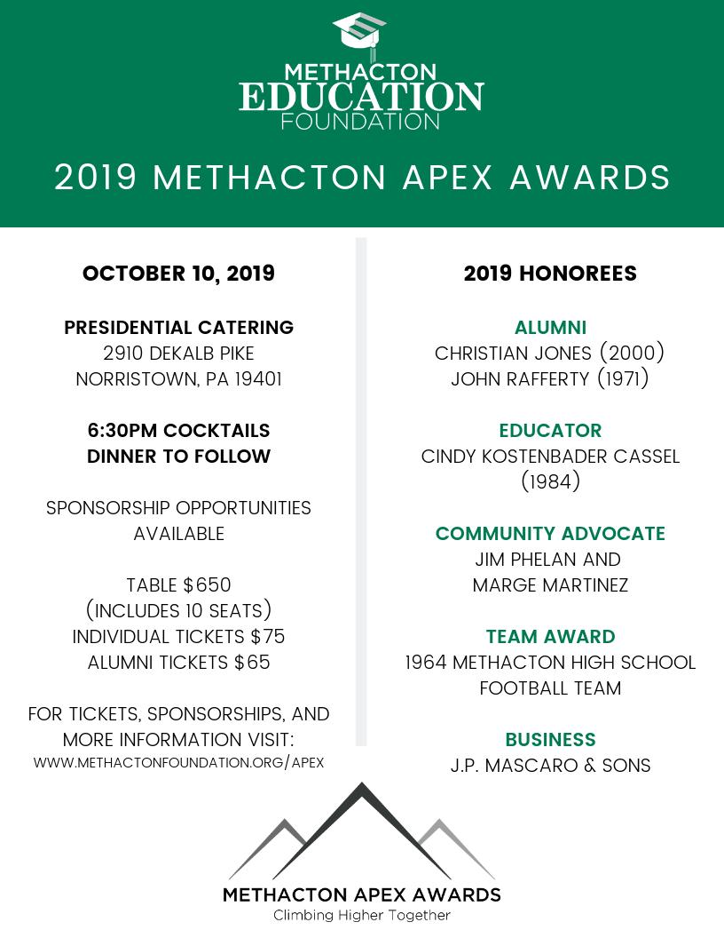 Methacton Apex Awards Honorees Announced