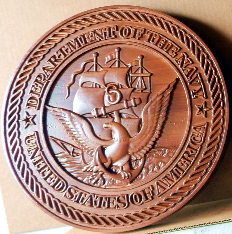V31206 - Carved 3-D Cedar Wall Plaque for Official US Navy Seal, with Frigate