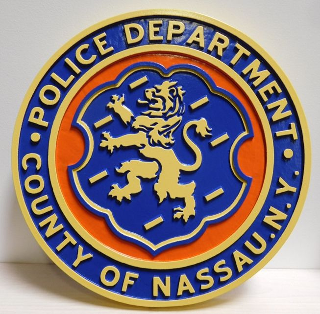 PP-3075- Carved Seal ,of the Police Department of Nassua County, New York,  2.5-D Artist-Painted